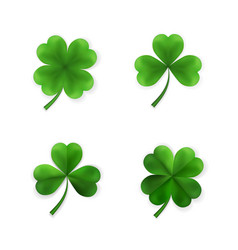 Green four and tree leaf clovers irish lucky vector