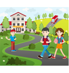 Group of student going to school vector