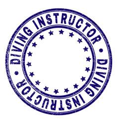 Grunge textured diving instructor round stamp seal vector