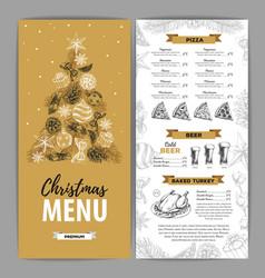 Hand drawing christmas holiday menu design vector