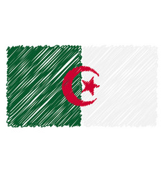 hand drawn national flag of algeria isolated on a vector image