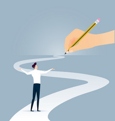 Hand holding pencil concept path vector