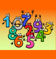 happy basic numbers cartoon characters vector image
