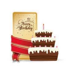 happy birthday cake sweet decorative card ribbon vector image