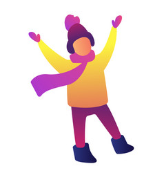 happy child with hands up wearing winter clothes vector image