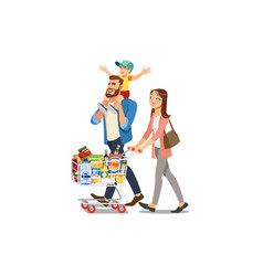 happy family buying food in supermarket vector image