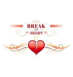 Happy Valentines day border broken heart Romance vector