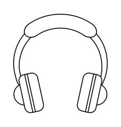 headphones music listen mobile outline vector image