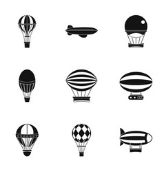 Hot air balloon icon set simple style vector