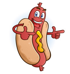 Hot dog cartoon character pointing both fingers vector