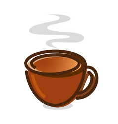 icon brown cup with steam on white background vector image