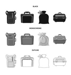 Isolated object of suitcase and baggage sign set vector