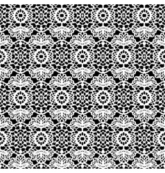 Lace white seamless pattern on black background vector image vector image