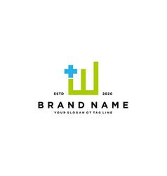 Letter w cross plus hospital medical logo design vector