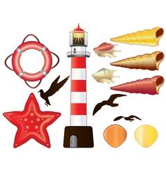 Lighthouse shells vector