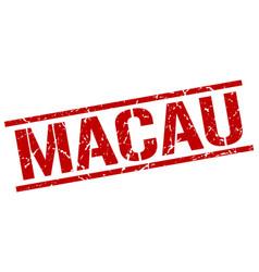 Macau red square stamp vector