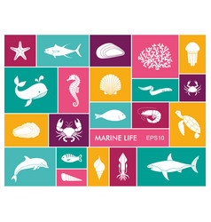 marine life icon set in flat style vector image