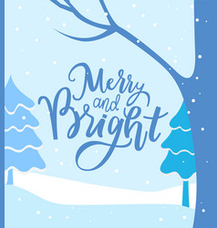 merry and bright winter landscape greeting card vector image