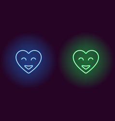 neon emoji heart glowing heart with smile vector image