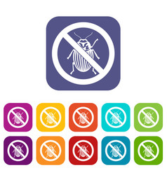 No potato beetle sign icons set vector