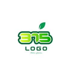 Number 375 numeral digit logo icon design vector