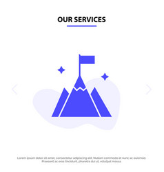 Our services mountain flag user interface solid vector