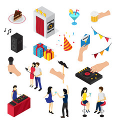 Party isometric icons collection vector