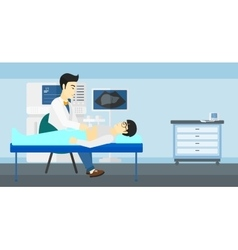 Patient under ultrasound examination vector