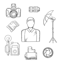 Photographer with equipment and items sketches vector