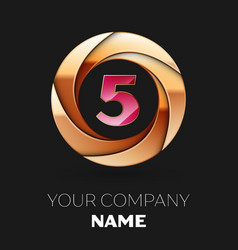pink number five logo symbol in the golden circle vector image