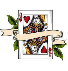 playing card queen heart vector image