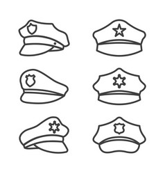 police hat line icon set on white background vector image