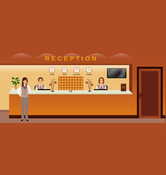 Reception service three hotel employees welcome vector