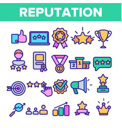 reputation linear thin icons symbol set vector image