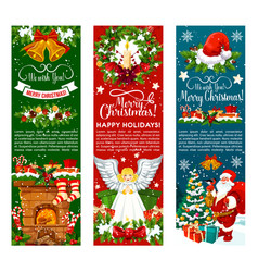 Santa with christmas gift and bell greeting banner vector