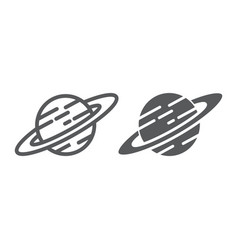 saturn line and glyph icon astronomy and space vector image