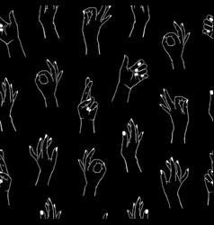 seamless pattern different gestures collection vector image