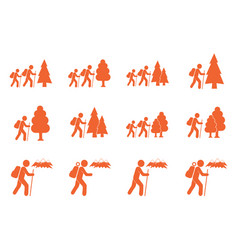 Set hiking icon vector