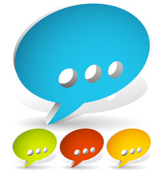 Set of 3d speech bubbles with ellipsis vector
