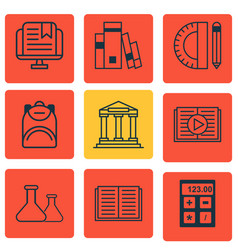 Set of 9 education icons includes college taped vector