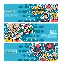 Set of Horizontal Banners about family vector image vector image