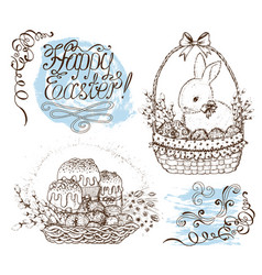 Set with easter symbols and lettering vector