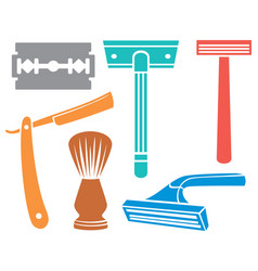 Shaving razor and brush icons vector