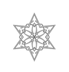 Six pointed star zentangle isolated design vector