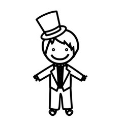sketch silhouette man with costume wedding icon vector image
