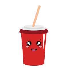 Soda drink kawaii character vector