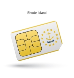 State of Rhode Island phone sim card with flag vector