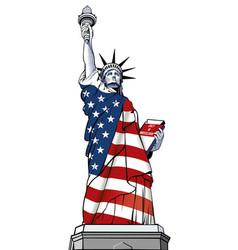 Statue liberty usa flag nyc vector