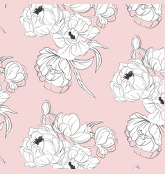 tender white black peony floral decoration vector image