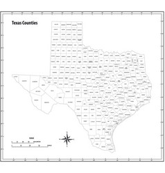 texas state outline map in black and white vector image